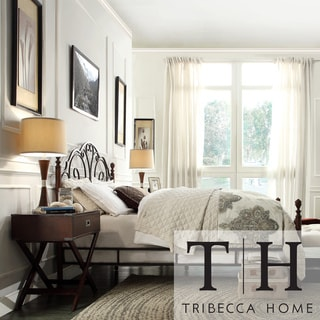 TRIBECCA HOME LeAnn Graceful Scroll Bronze Iron King-size Poster Bed
