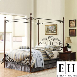 ETHAN HOME LeAnn Gracefull Scrool Iron Metal King-size Canopy Bed