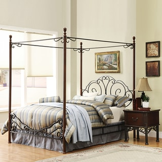 LeAnn Gracefull Scrool Iron Metal King-size Canopy Bed