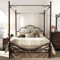 TRIBECCA HOME LeAnn Graceful Scroll Iron Metal King-sized Canopy Poster Bed