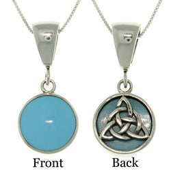 Carolina Glamour Collection Sterling-Silver Celtic-Knot Reversible Necklace with Turquoise Accents