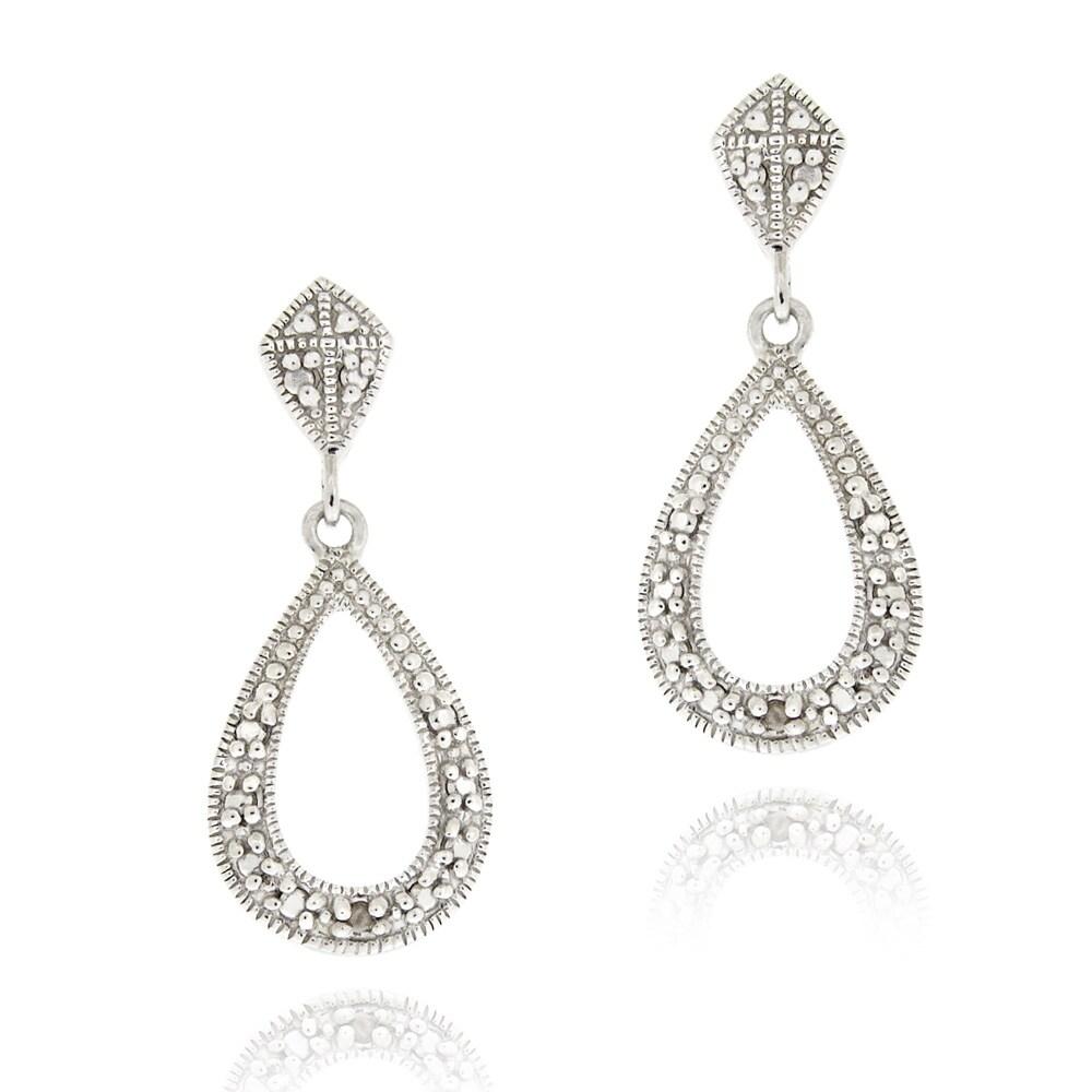 DB Designs Sterling Silver White Diamond Accent Teardrop Dangle Earrings