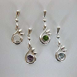Sterling Silver Round Gemstones Necklace (Thailand)