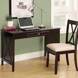 Cappuccino Birch Veneer 2-piece Desk and Chair Set