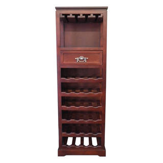 "Handmade Mahogany 24-Bottle Tall Wine Rack - 54"" H x 17"" W x 12"" D"