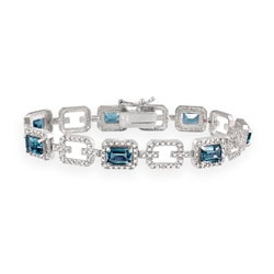 Glitzy Rocks Silver 8.75 CTW London Blue Topaz and Diamond Accent Bracelet