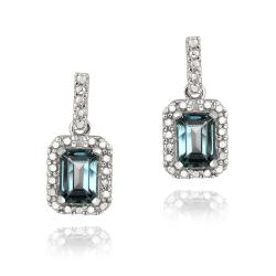 Glitzy Rocks Silver London Blue Topaz and Diamond Accent Earrings
