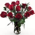 One-dozen Red Roses in a Glass Vase