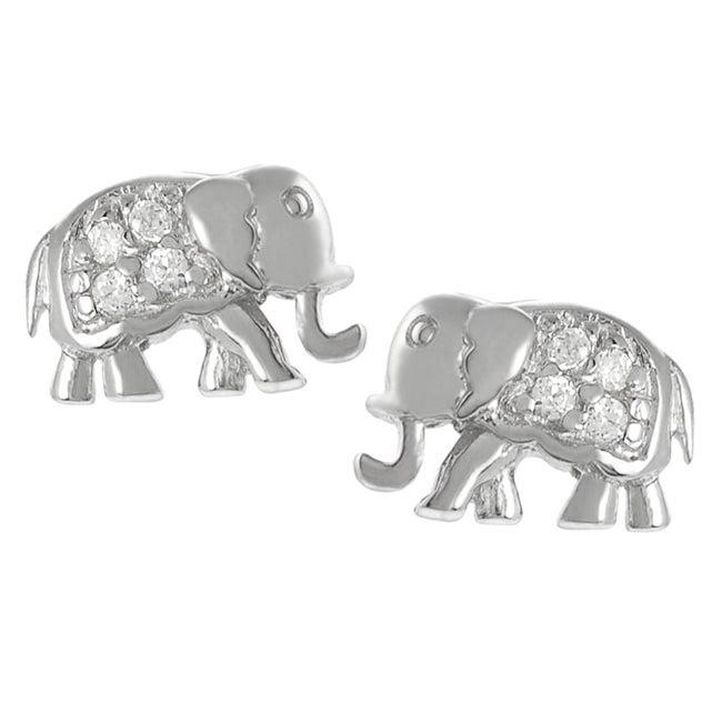 Journee Collection Sterling Silver Cubic Zirconia Elephant Earrings