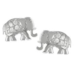 Tressa Sterling Silver Cubic Zirconia Elephant Earrings