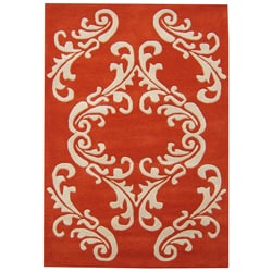 Hand-made Sabrina Orange Wool Rug (8' x 10')