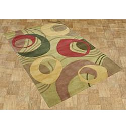 Alliyah Handmade Amber Green New Zealand Blend Wool Rug 8x10