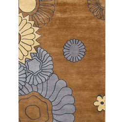 Hand-made Brown Sugar New Zealand Blend Wool Rug (5' x 8')