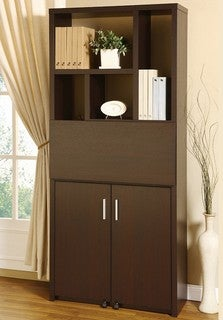 Furniture of America Porta Cappuccino Bookcase Workstation