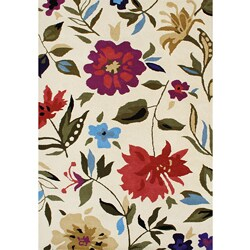 Hand-tufted Cream Flower New Zealand Blend Wool Rug (5' x 8')