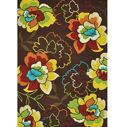 Hand-hooked Coventry Brown Floral Rug (7'6 x 9'6)