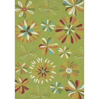 Hand-hooked Coventry Green Floral Indoor/ Outdoor Rug (3'6 x 5'6)