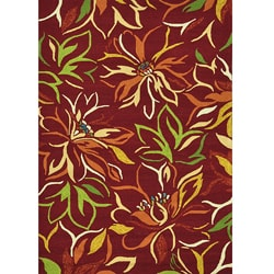Hand-hooked Coventry Crimson Floral Indoor/ Outdoor Rug (5' x 7'6)