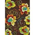 Hand-hooked Coventry Brown Floral Rug (3'6 x 5'6)