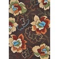 Hand-hooked Coventry Brown Floral Indoor/ Outdoor Rug (3'6 x 5'6)