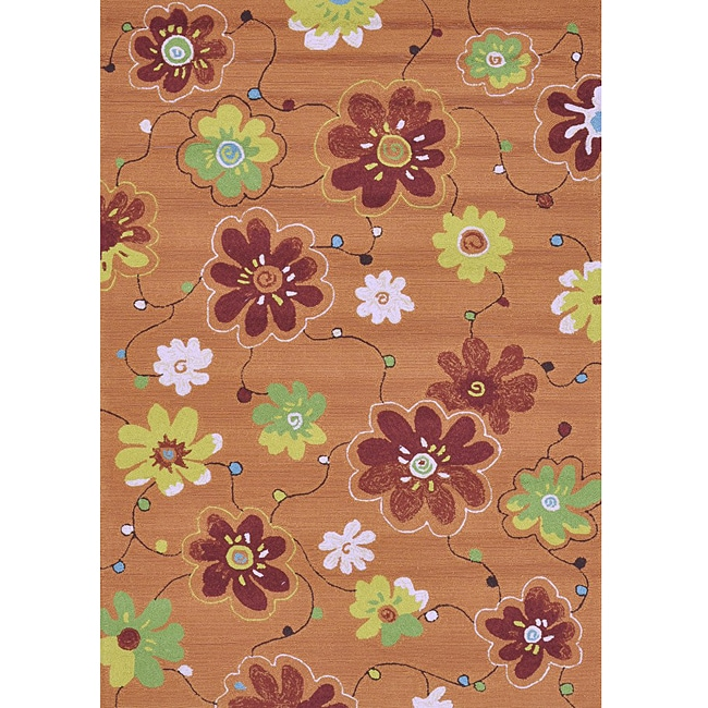 Hand-hooked Coventry Spice Floral Indoor/ Outdoor Rug (7'6 x 9'6)