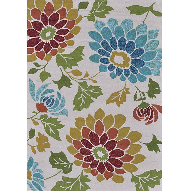 Hand-hooked Coventry Ivory Floral Indoor/ Outdoor Rug (7'6 x 9'6)