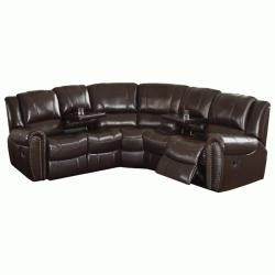 Camden Dark Brown Italian Leather Reclining Sectional Sofa