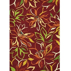 Hand-hooked Coventry Crimson Floral Indoor/ Outdoor Rug (7'6 x 9'6)