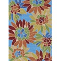 Hand-hooked Coventry Blue Floral Indoor/ Outdoor Rug (5' x 7'6)