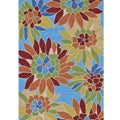 Hand-hooked Coventry Blue Floral Indoor/ Outdoor Rug (7'6 x 9'6)