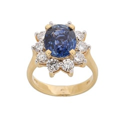 Kabella 18k Yellow Gold Sapphire and 1 3/5ct TDW Diamond Ring (H-I, I1-I2)