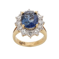 Kabella 18k Yellow Gold Sapphire and 1 7/8ct TDW Diamond Ring (G-H, VS1-VS2)