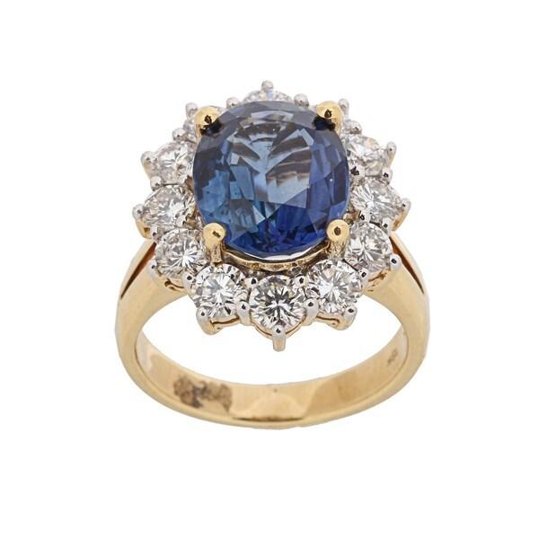 Kabella 18k Yellow Gold Sapphire and 1 7/8ct TDW Diamond Ring (G-H, VS1-VS2)