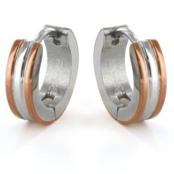 Twotone Stainless Steel Hoop Earrings