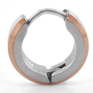 Twotone Stainless Steel Hoop Earrings