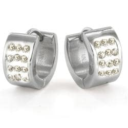 Stainless Steel Pav Cubic Zirconia Stud Cuff Earrings