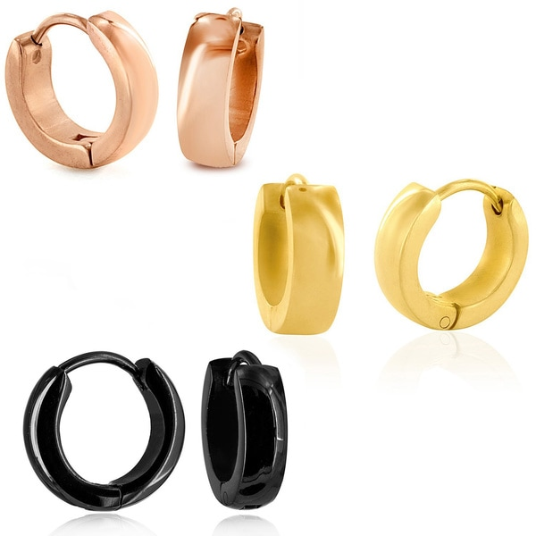 Stainless Steel Polished Hoop Earrings