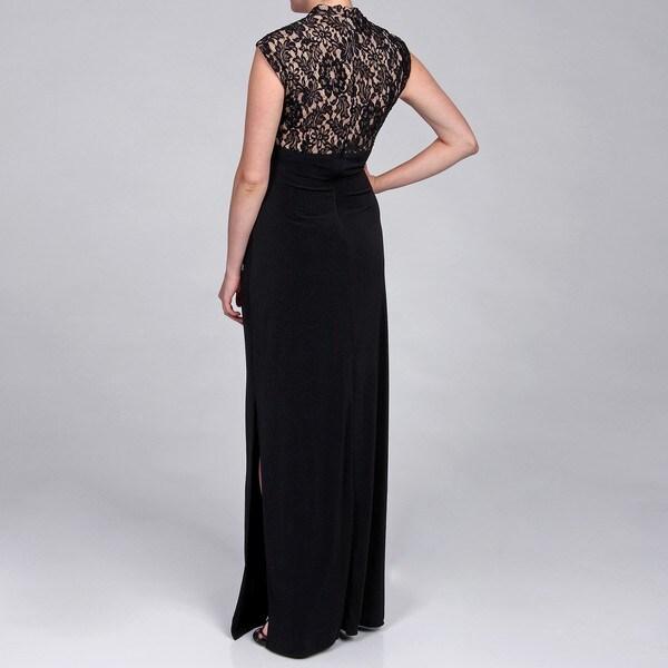 JS Boutique Women's Lace Bodice Long Dress