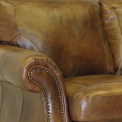 Sterling Cognac Brown Italian Leather Sofa and Chair