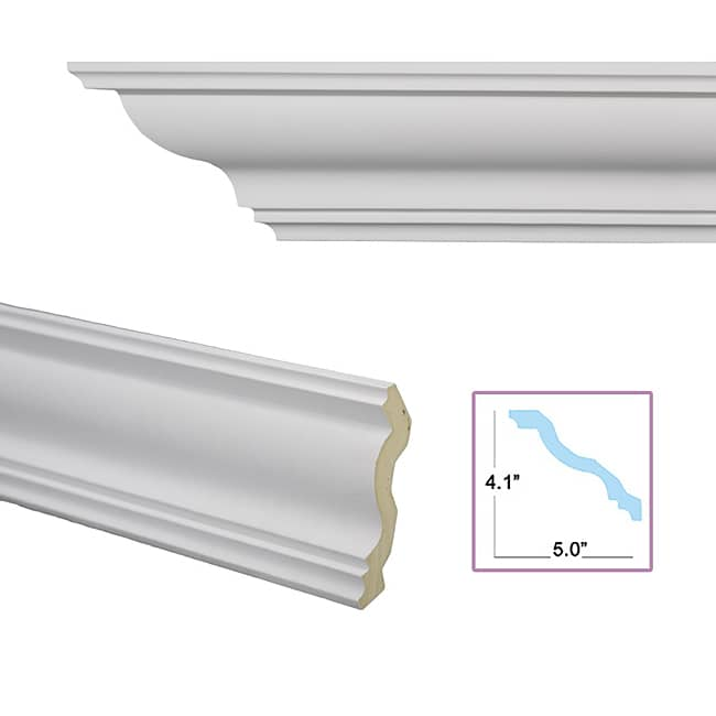 Cyma reversa 6 4 inch crown molding 13878663 overstock for 9 inch crown molding