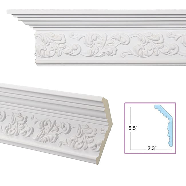 Scrolling leaf 6 inch crown molding 13878667 overstock for 9 inch crown molding