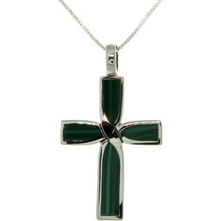 Carolina Glamour Collection Sterling Silver Malachite Celtic Cross Inlay Necklace