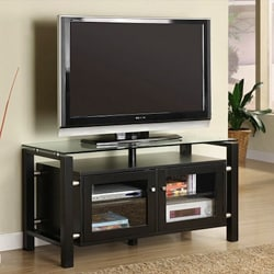 Brushed Steel Black 46-in TV Console W/ Tempered Glass