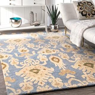 nuLOOM Handmade Ikat Wool Rug (7'6 x 9'6)