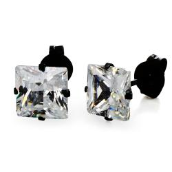 Stainless Steel 7 mm Cubic Zirconia Stud Earrings