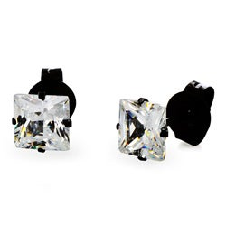 Stainless Steel 4 mm Cubic Zirconia Stud Earrings
