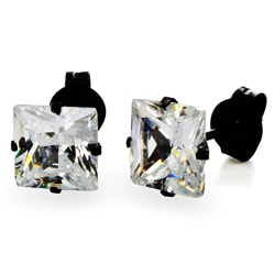 Stainless Steel 6 mm Cubic Zirconia Stud Earrings
