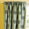 Teal Medallion Dupioni Silk 96-inch Curtain Panel