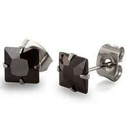 West Coast Jewelry Stainless Steel 6 mm Black Cubic Zirconia Earrings