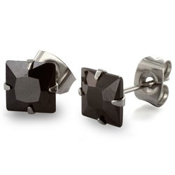 West Coast Jewelry Stainless Steel 7 mm Black Cubic Zirconia Earrings